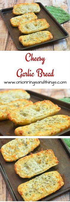 These cheesy garlic bread are generously slathered with garlic-butter spread, topped with mozzarella cheese and then baked until golden and bubbly; perfect with pasta, soups and stews