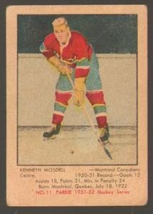 #11 Ken Mosdell (1951-1952) - Parkhurst Products Ice Hockey card. New on http://colnect.com/sports_cards