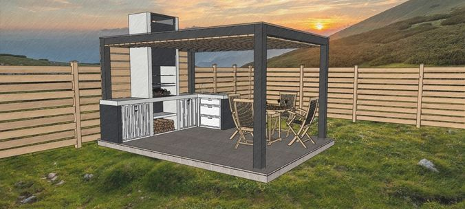a-frame cabin and outdoor kitchen furniture 3d model 3d
