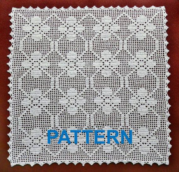 Crochet Doily Pattern Square Doily Crochet Pattern Free Tablecloth Pattern Crochet Tablecloth Pattern Square Tablecloth PDF Square Motif PDF