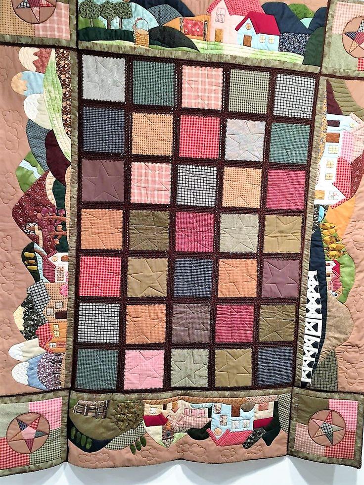 """Mi último quilt, """"The village"""".Patchwork con aplicaciones , pieceo y bloques unidos con ganchillo."""