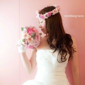 ピンク花冠ヘアスタイル - 結婚式ヘアメイク・ウェディングヘアメイク「ルーチェ」出張ヘアメイク