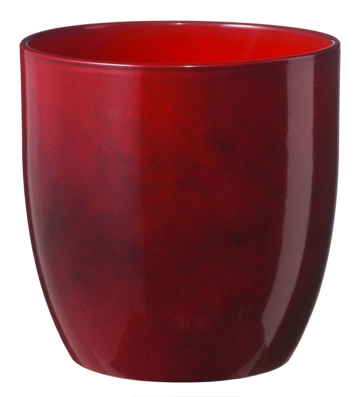 Basel Round Glazed Dark Red Brushed Plant Pot (H)23cm (Dia)24cm | Departments | DIY at B&Q