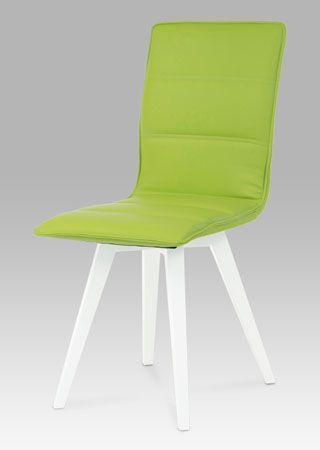 B829 LIM1 Designová jídelní židle s horizontálně prošitým opěrákem. Koženka ve světlé, limetkově zelené barvě perfektně vynikne na podnoží v bílém vysokém lesku. Tato židle je vhodná do různých interiérů, bude ozdobou každé jídelny či kuchyně. Nosnost této židle je do 100 kg.