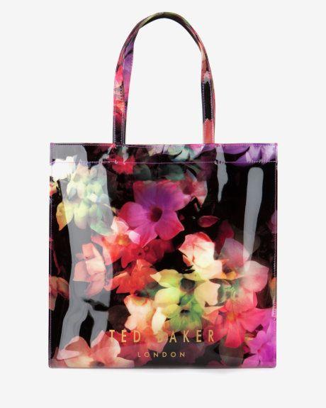 Large cascading floral shopper bag - Black | Bags | Ted Baker