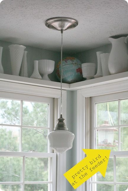 DIY:   When you can't find the light fixture you want, make your own.  This link will show you how - using a Mason Jar lid, glue & an old glass shade from Goodwill.