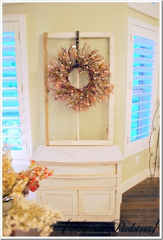 Hang A Wreath From An Old Window Love The Paint Color Too
