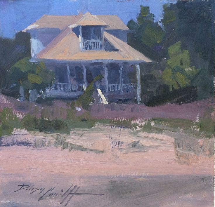 """Beach Cottage"" 8"" x 8"" Private Collection Sunlit beach cottage on Indian Pass Beach, Florida's Forgotten Coast"