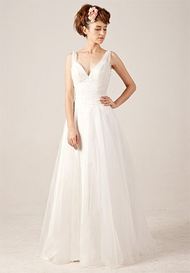 Beading V-neck Lace-up Wedding Dress with Sweep / Brush Train  Read More:     http://www.weddingspnina.com/index.php?r=beading-v-neck-lace-up-wedding-dress-with-sweep-brush-train.html