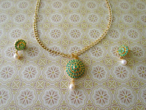 $27.54 Necklace and Earring Set, Pendant set, Stonework, Stonework necklace, Indian Necklace, Colorful green, golden necklace and earrings