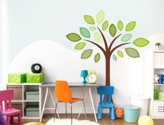 Kinderzimmer Wandtattoo Baum in braun grün und lindgrün