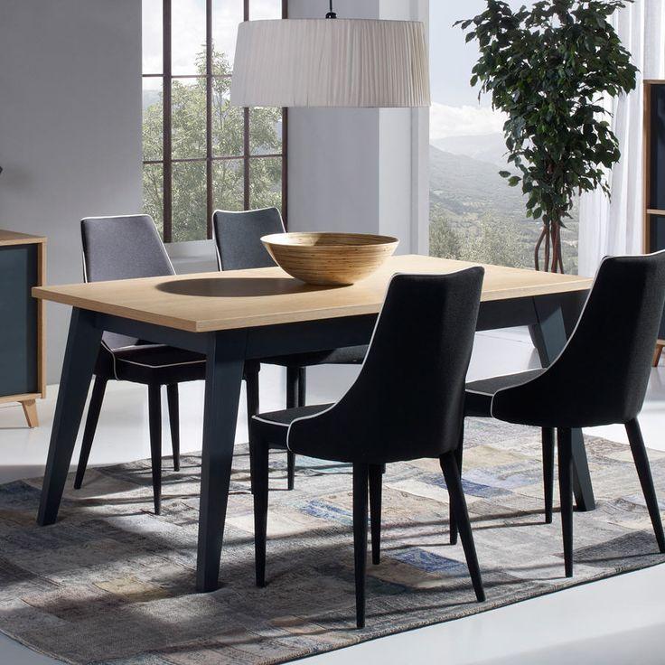 Superb Table Bois Avec Rallonge #12: Table à Manger Rectangulaire En Bois BLEUET Avec Allonge Longueur 160 / 205  Cm Prix Table