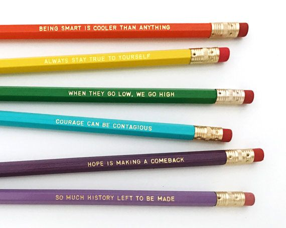 Michelle Obama quote pencil set that directly benefits the charity Let Girls Learn, which addresses a range of challenges preventing adolescent girls from attaining a quality education that empowers them to reach their full potential. We hope to be able to write them a big check, and we need all the help we can get!  Pencils that feature inspirational quotes that remind us we have so much to offer the world.  -♡- set of 6 pencils -♡- one of each saying: BEING SMART IS COOLER THAN ANYTHING…