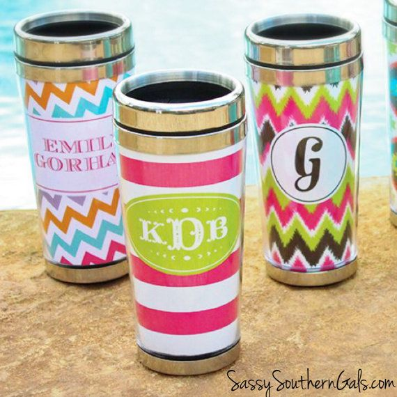 Monogrammed Stainless Steel Travel Mug by SassySouthernGals