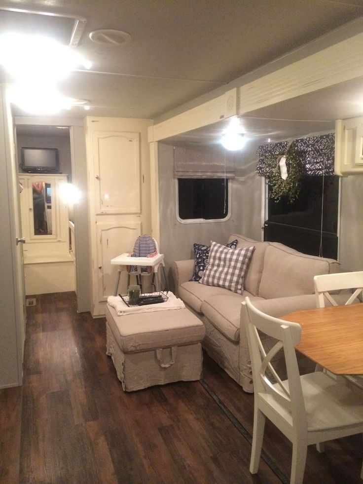 Fifth Wheel Makeover Love The Dark Floors, Light Woodwork Really Like The  Curtains Color And Style