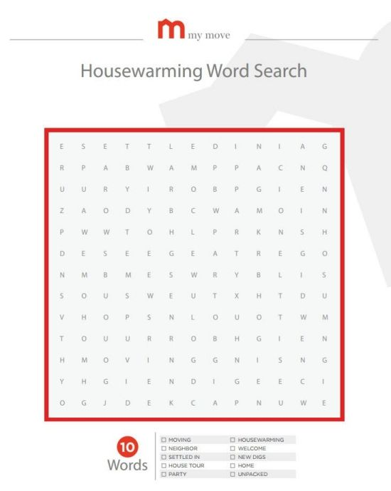 housewarming word search party idea pinterest words