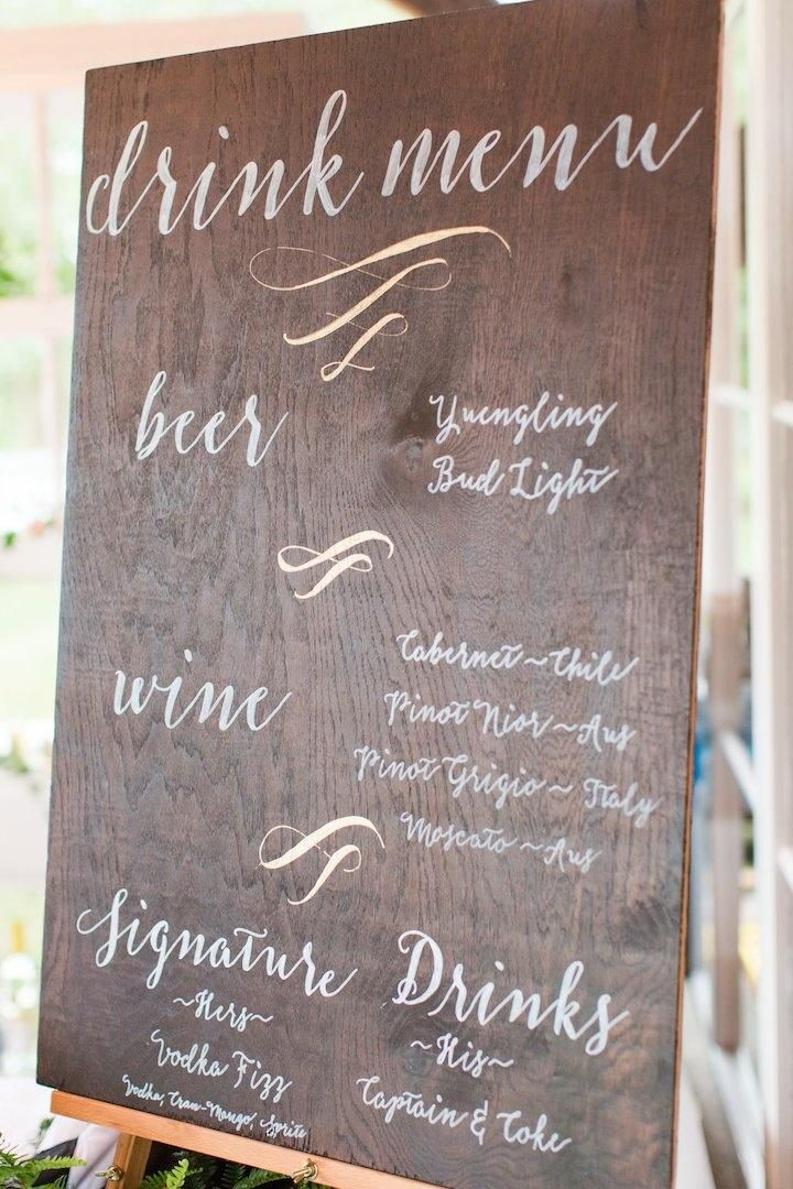 Featured photographer: Katelyn James, Jillian Michelle Photography, Hannah Teague Photography; Wedding reception drink menu idea