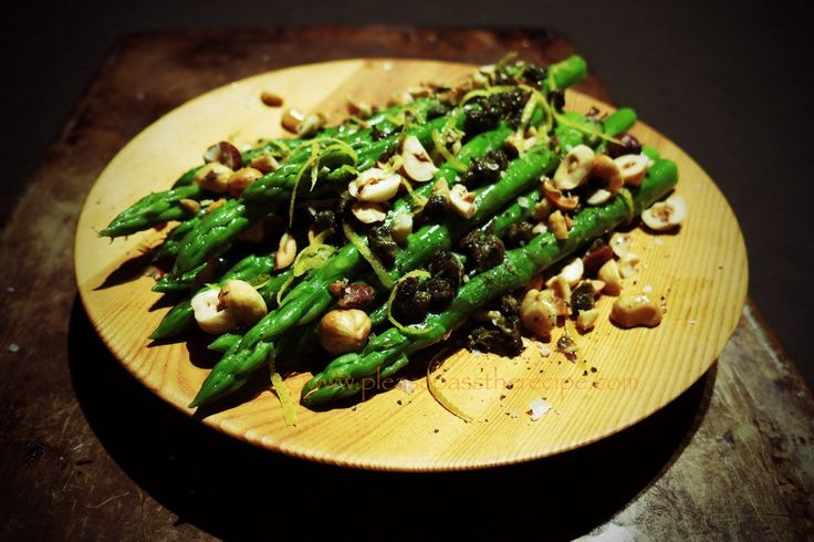Asparagus salad, hazelnuts. Lemon & Capers