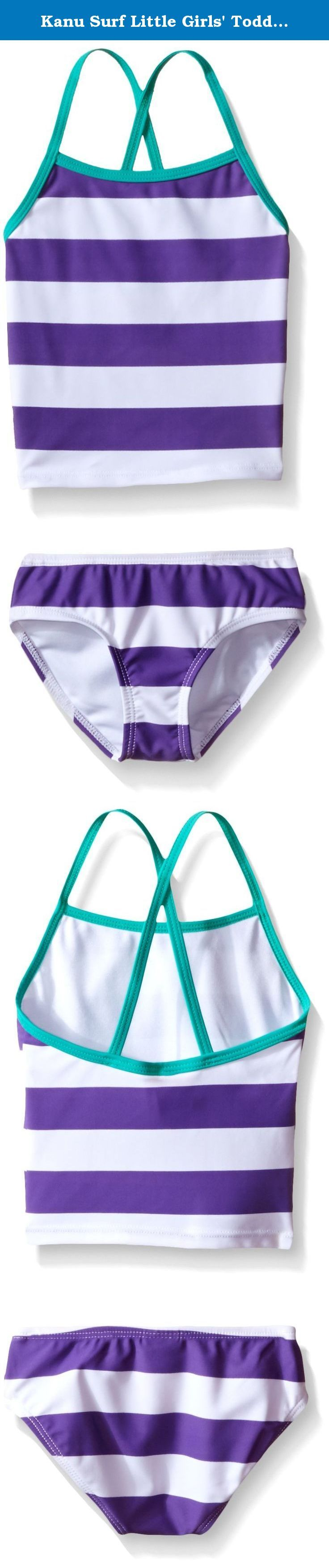Kanu Surf Little Girls' Toddler Layla Stripe Tankini Swimsuit, Purple, 3T. Kanu Surf presents our newest swim styles yet. Kanu, a surf and swim lifestyle brand, is well known for great prints and colors along with high quality functional apparel for the whole family. All of our swimwear is made with a high quality nylon/spandex tricot fabric and are lined both front and back. All of our prints are available in 1 or 2 piece options. Kanu swimwear is great for the active athlete as well as…