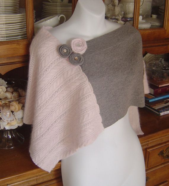 Wool Recycled Sweater Poncho/Cape/Shawl Many by sweetdaisyscloset