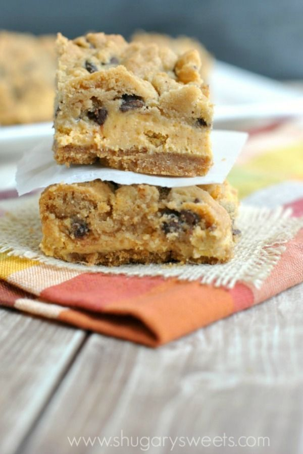 Graham cracker crust topped with creamy pumpkin cheesecake and chocolate chip cookie dough!