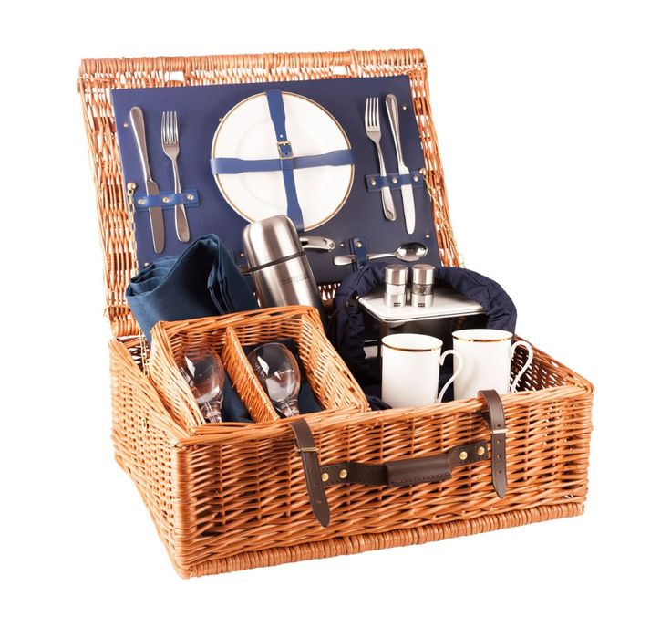 The Ascot Luxury Picnic Hamper – 2 place settings in blue
