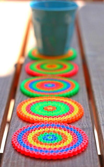 hama (perler) bead neon coasters