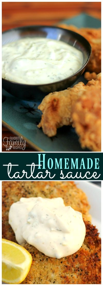 This fresh and easy Homemade Tartar Sauce goes perfectly with Fish and Chips as well as other seafood dishes.   via @favfamilyrecipz