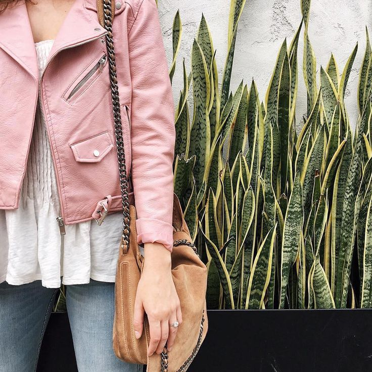 A pretty pink leather jacket.