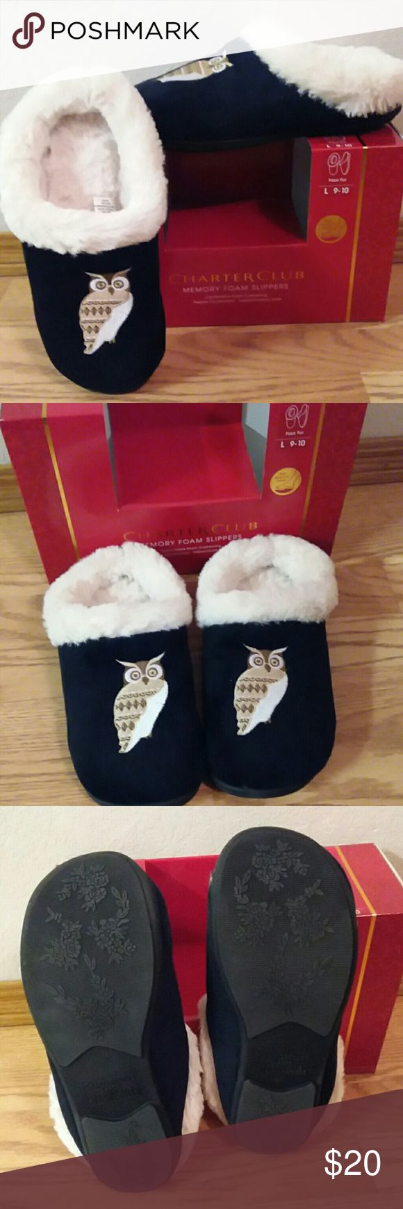 """Owl black and white memory foam slippers Charter club memory foam slippers.  Black and white with owl. Faux fur. Comfortable foam cushioning,  flexible construction,  indoor/ outdoor soles.  Ultimate comfort. slip resistant outsole for better traction.  High density foam makes every step soft and comfortable.  From toe to heal they are 11"""" long.  NEW Charter Club Shoes Slippers"""