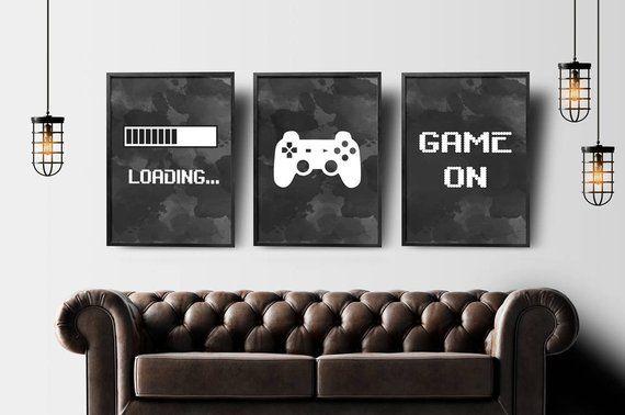 Gaming Wall Art Set Of 3 Gaming Prints Set Video Game Print Gaming Room Decor Printable Wall Art Video Game Party Video Game Poster In 2021 Game Room Decor Gaming Wall