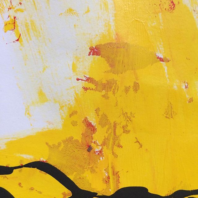 """Detail of """"Yellow Red Black 01 (paper) - 2011"""". Come see this painting (plus 44 others!) at the Gam Gallery on August 29th at my much anticipated first SOLO exhibition.  #abstractart #abstractpainting #abstractartist #abstractexpressionism #fineart #modernart #vancouverart #vancouver #vancouverartist #artforsale #interiordesign #detail #closeup #details #zoom #texture #colour"""
