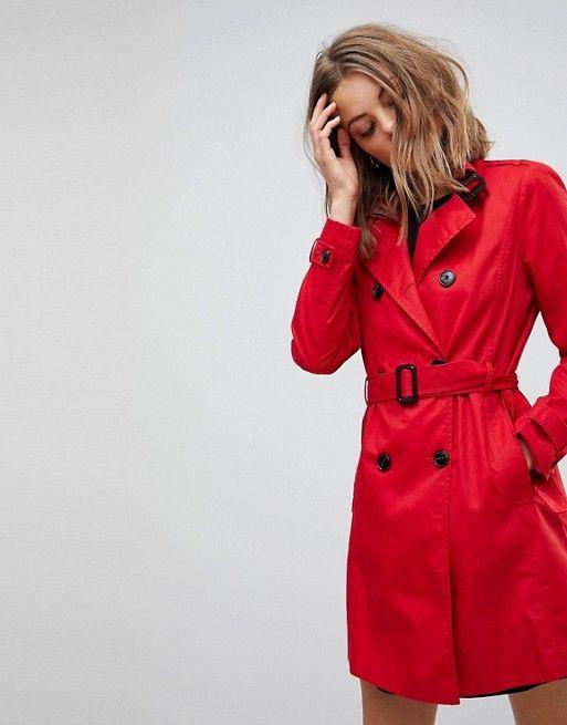 1ebf5153cf4 Stradivarius Classic Mac Trench | Jackets & Coats | Denim trench coat, Red  trench coat, Coat