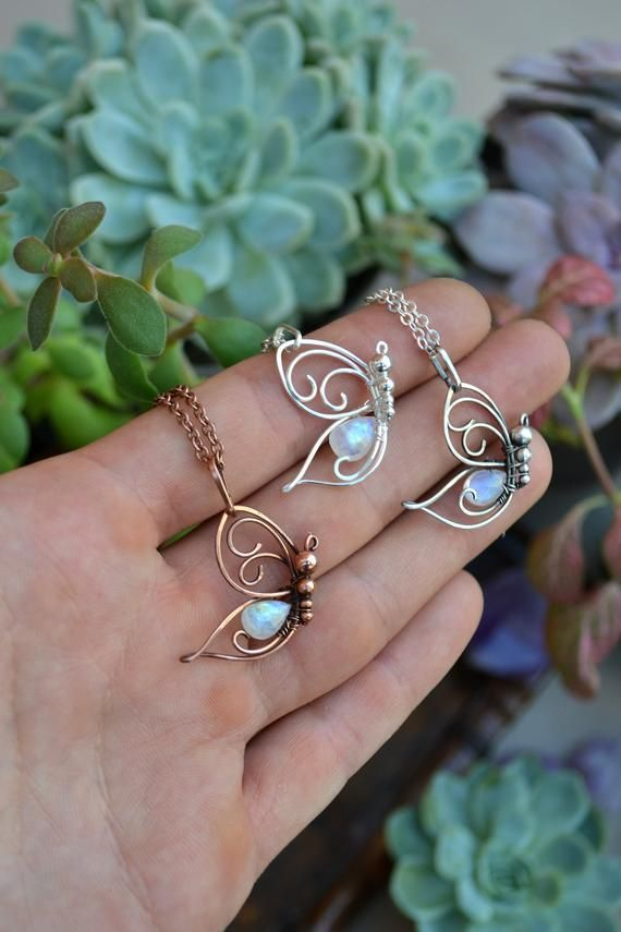 Butterfly Fairy Moonstone Necklace. Moonstone jewelry. Wire wrapped pendant …   – Wire Wrapping and Wire Weaving