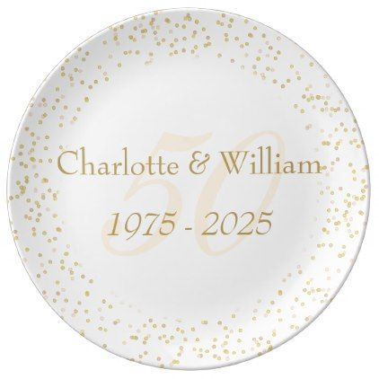 #stylish - #50th Wedding Anniversary Gold Dust Confetti Porcelain Plate