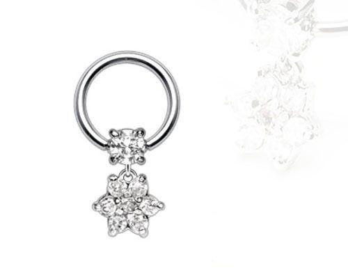 Tragus CZ Flower Silver Ear Piercing Cartilage Helix Earring Captive Ring 16g   eBay