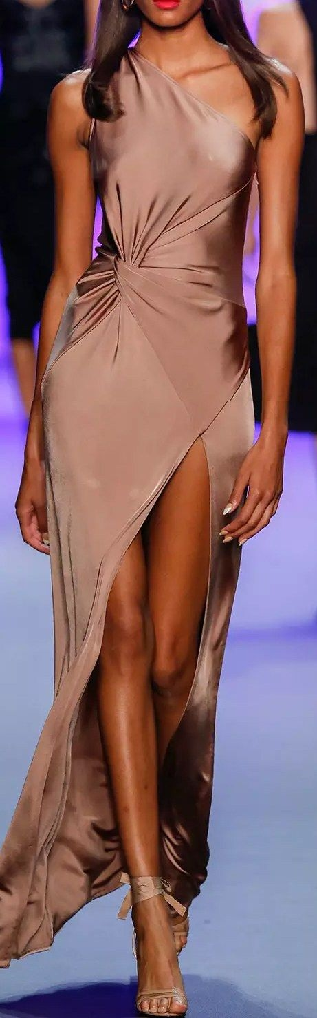 Cushnie Et Ochs One-Shoulder Twisted-Waist Dress