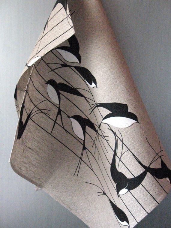 Linen Cotton Dish Towels Tea Towels Swallows Birds Nature Tea Towels set of 2