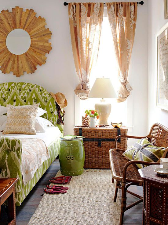 LOVE the bright green upholstered headboard!!