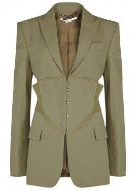 Sage corset-effect jacket