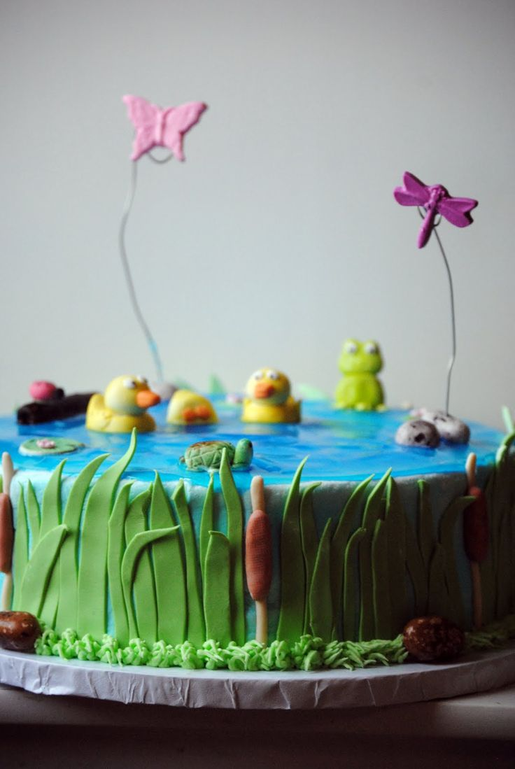 decorating a fish pond | Cake With Fishing Theme I Wanted A Pond So Put Bowl Inside The