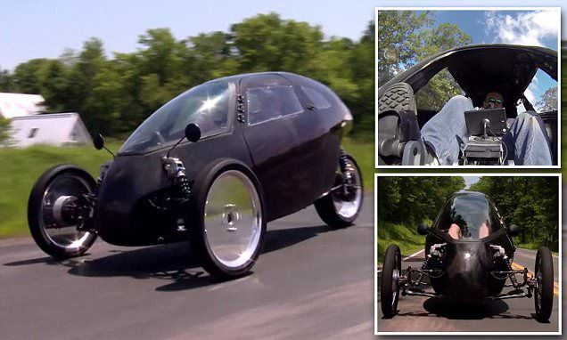 The bike that could let you pedal as fast as a CAR: New design can reach 100mph | Pedals power a 20-kWh electric motor, which sits in the rear wheel hub | Most people can maintain a cruising speed of 30 mph (48 km/h) | When activated in throttle mode, with the help of battery power, it has a range of 50 miles (80 km) and a top speed of 100 mph (160 km/h) [Futuristic Bikes: http://futuristicnews.com/tag/bike/ Electric Cars: http://futuristicnews.com/tag/electric-vehicle/]