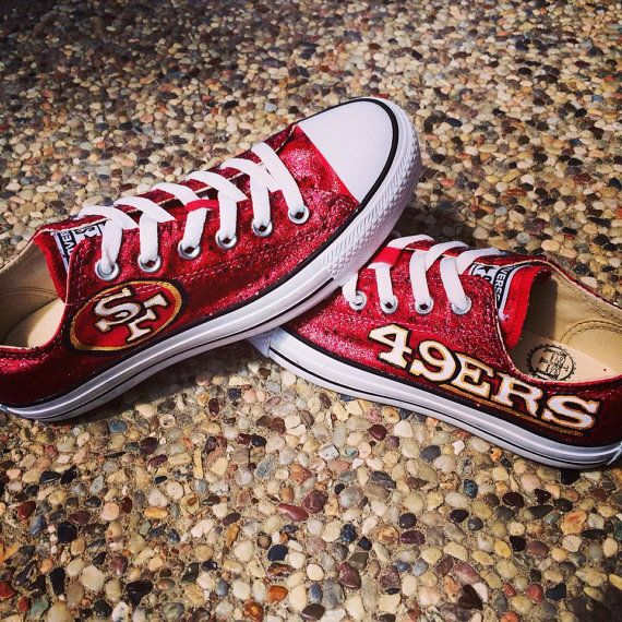 Custom Hand Painted San Francisco 49ers Converse shoes!! Click pin to find website