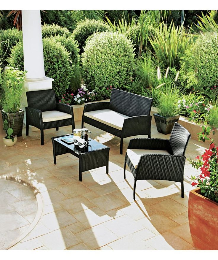 Buy Rattan Effect 4 Seater Garden Patio Furniture Set   Black At Argos.co. Part 32