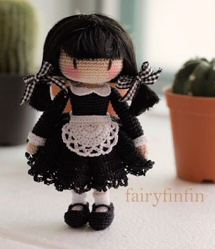 Cute crochet maid by Fairyfinfin