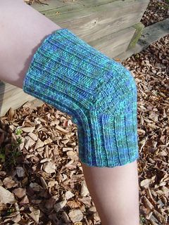 Phil's Knee Warmer by Sarah Peasley Her father-in-law, after his knee replacement surgery, complained that his new knee was cold during the winter months. He requested a knee warmer, which she happily provided. Here's the result!