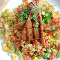 """Cauliflower Fried """"Rice"""" with Grilled Asian Tofu 