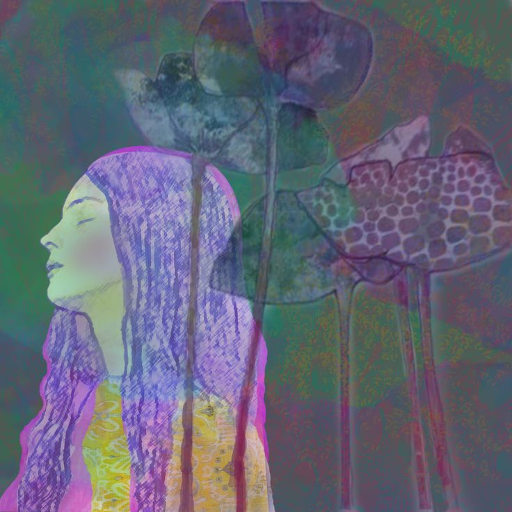"""""""Dreams of Moonflowers"""" digital image by Pearl Red Moon, 2016"""