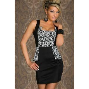Seksi Siyah Desenli Mini Elbise