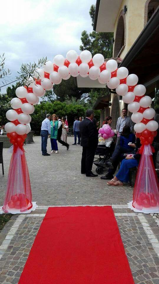 Red And White Balloon Arch Wedding Balloon Decorations